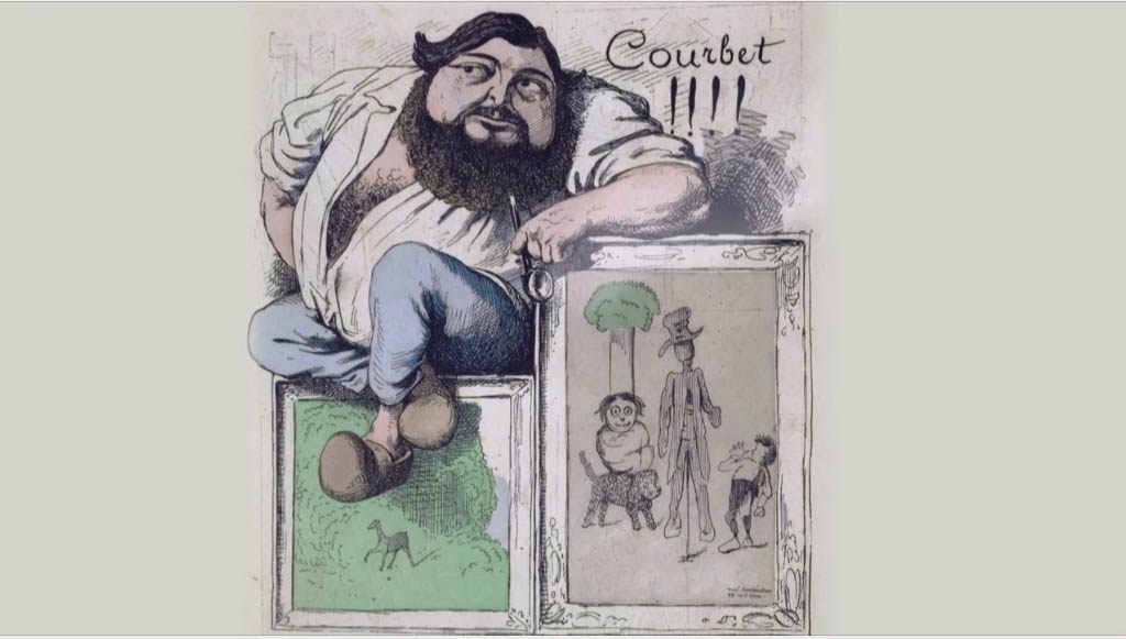 Caricature of painter Gustave Courbet from the documentary film Les Petits Secrets Des Grands Tableaux – Courbet, L'atelier Du Peintre