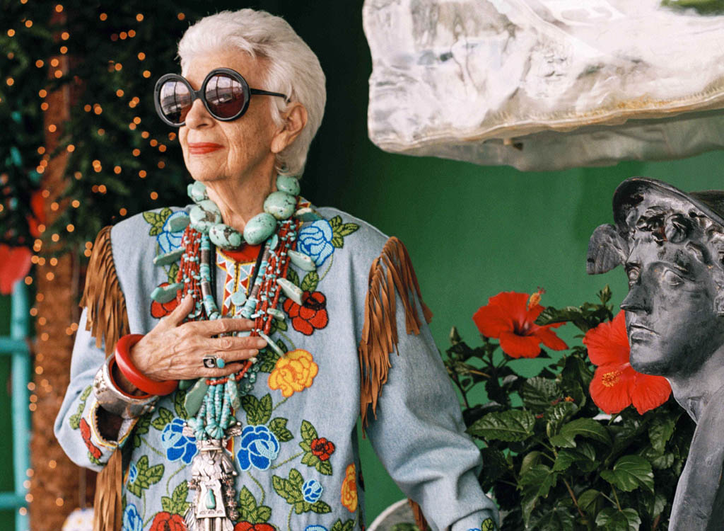 The documentary Iris is a portrait of fashion legend Iris Apfel, directed by Albert Maysles.