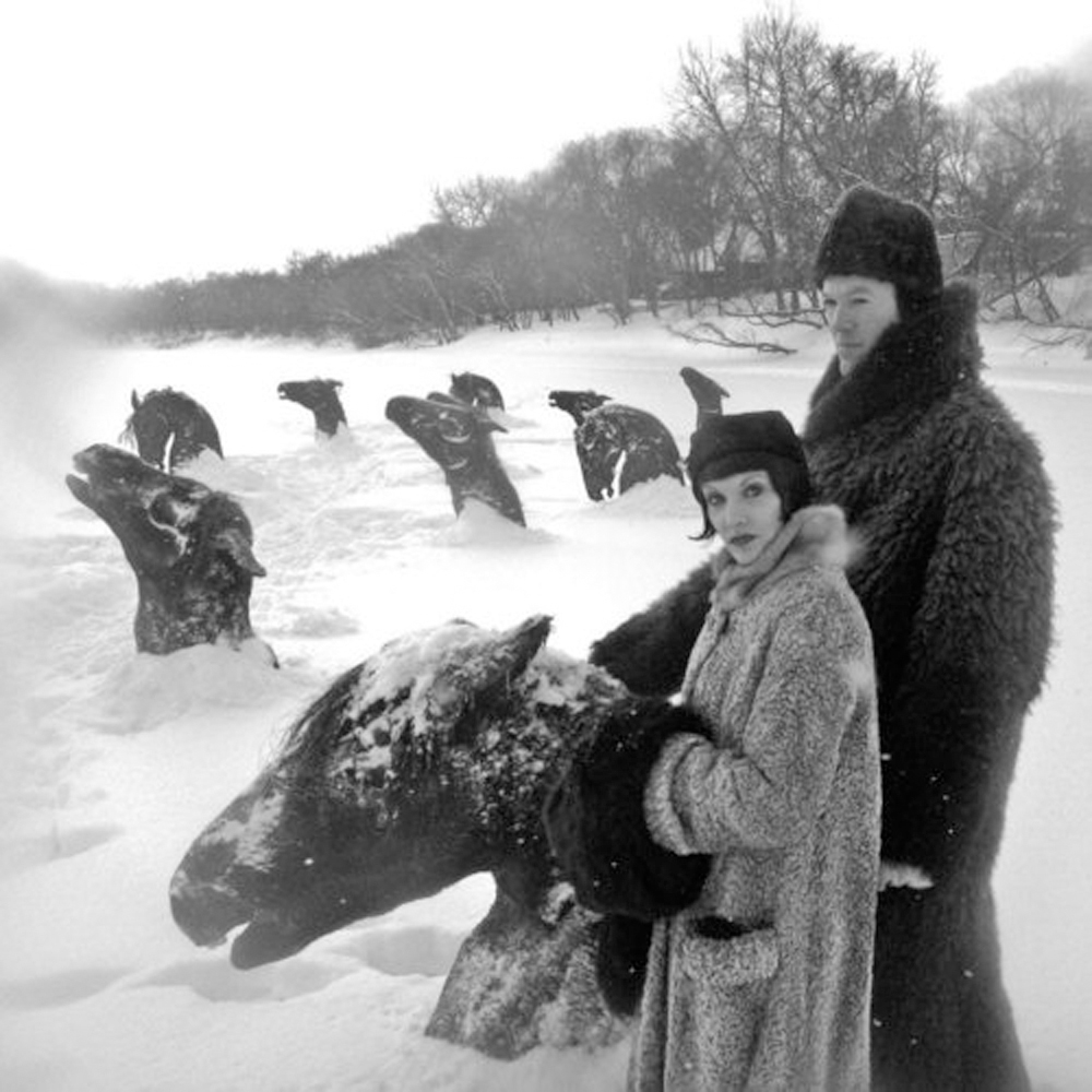 Guy Maddin's film My Winnipeg includes a surreal story about racehorses who were trapped in a river when they fled a fire in stable. The horses remained there, frozen in place, until spring arrived. The frozen horses even became a local tourist attraction!