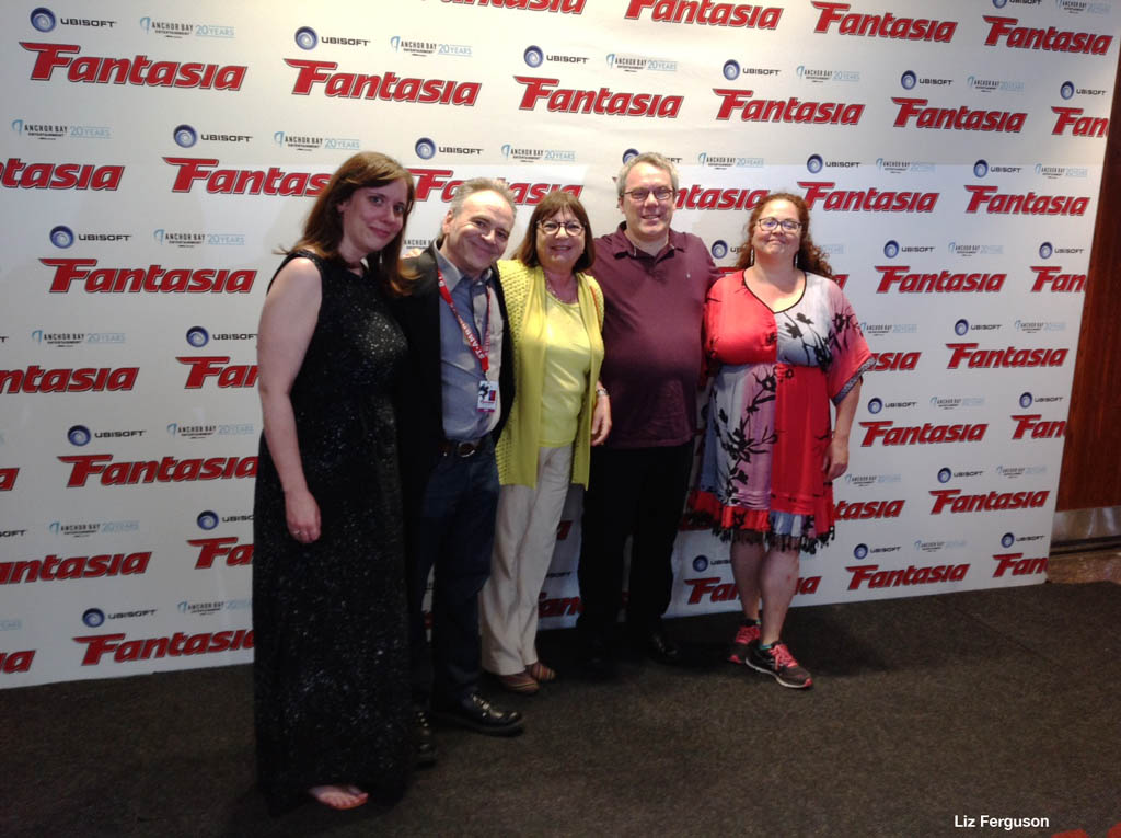 Photo opportunity! From left, Fantasia Market & Industry Director Lindsay Peters,  Fantasia Marketing Director Marc Lamothe, SODEC President Monique Simard, Fantasia Festival President  Pierre Corbeil, Fantastique Week-End du Cinema QuŽebeŽcoise Director Isabelle Gauvreau pose for a picture before the sold-out screening of Miss Hokusai, on the first day of the Fantasia International Film Festival in Montreal, on Tuesday July 14, 2015.  Photo by Liz Ferguson