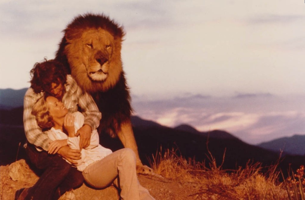 Family portrait: Husband, wife, lion, in a scene from the 1981 ilm Roar.s