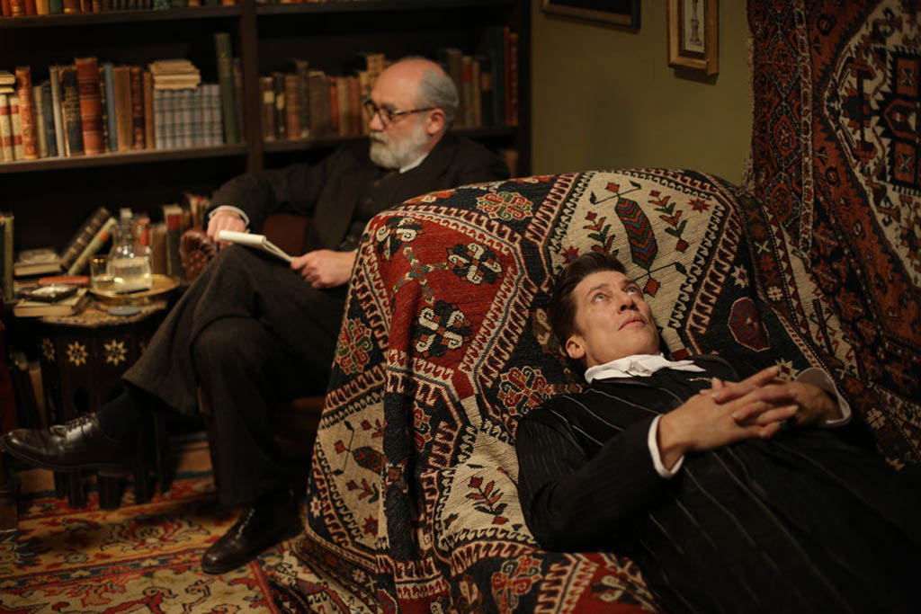 Karl Fischer as Dr. Sigmund Freud, Tobias Moretti as Count Geza von Kozsnom in the Austrian film Therapy For a Vampire.