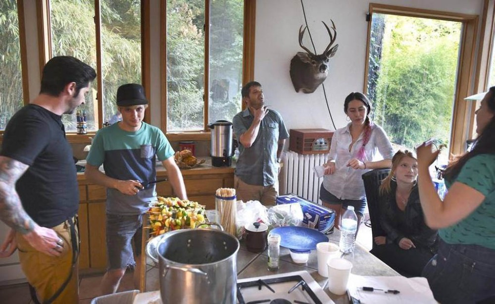 "Nice kitchen! Photo by Tony Overman of the Olympian newspaper shows ""Crew members (from left) Travis Johnny Ware, Brandon Roberts, Jason Stange, Lisa van Dam-Bates, Katie Hemming and Rose Hall discuss the night's schedule for filming of the movie ""Marla Mae"" in Olympia on Tuesday, July 21, 2015."""