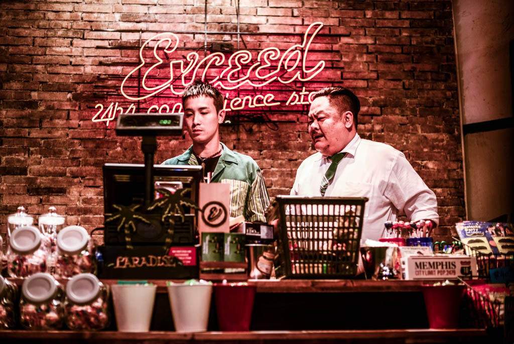 Derek Tsang, left,  as a newly hired convenience-store clerk and Lam Suet as his cranky boss in a scene from the Hong Kong film Robbery. Robbery will be shown at the 2015 edition of the Fantasia International Film Festival in Montreal.