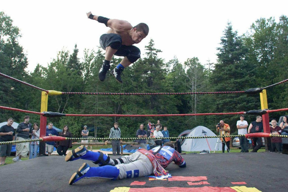 Wrestling demonstration at ShazamFest. Needless to say, this is not wrestling as seen at the Olympics, or the Pan-Am Games. Photo from the ShazamFest web page.