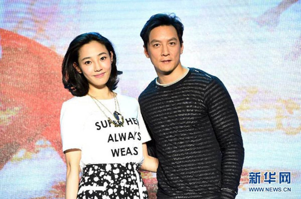 Bai Baihe, left, and Daniel Wu promote their film Go Away, Mr. Tumor. (Xinhua photo)