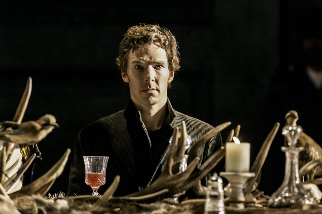 Benedict Cumberbatch as Hamlet at the Barbican Theatre, in London.