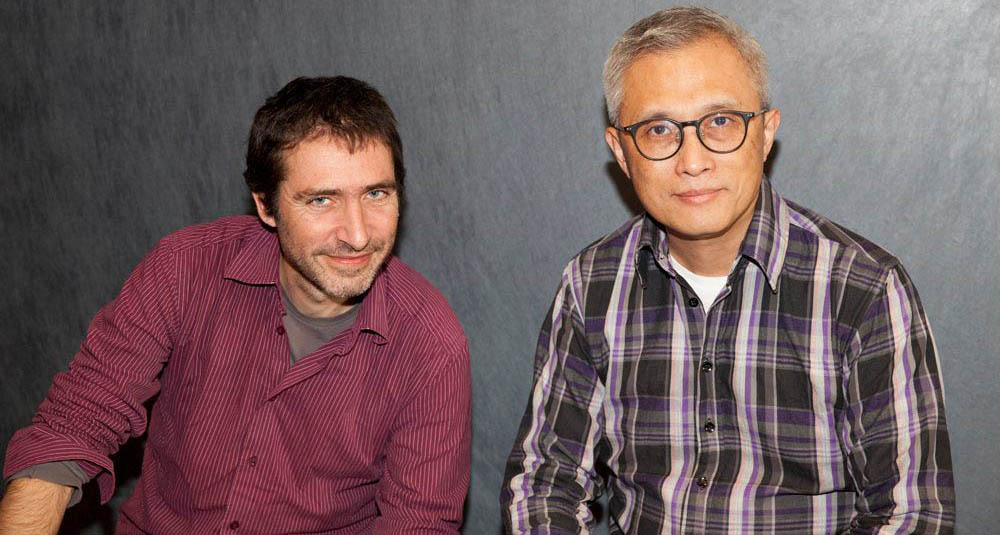 Festival du nouveau cinema programmer Julien Fonfrede, left, and Montreal director Shuibo Wang. (Photo copyright Maryse Boyce)