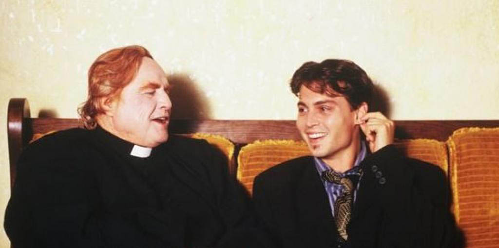Marlon Brando, left, and Johnny Depp signed on to make the film Divine Rapture in 1995, but the film could not be completed. The documentary Bally Brando explains what happened.