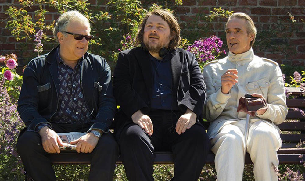 This photo, originally from the Screen Daily web site shows director Ben Wheatley, centre, and actor Jeremy Irons, right.