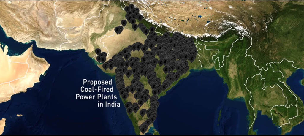 "This screen grab from the documentary film This Changes Everything shows India buried under ""Proposed Coal-Fired Power Plants."""
