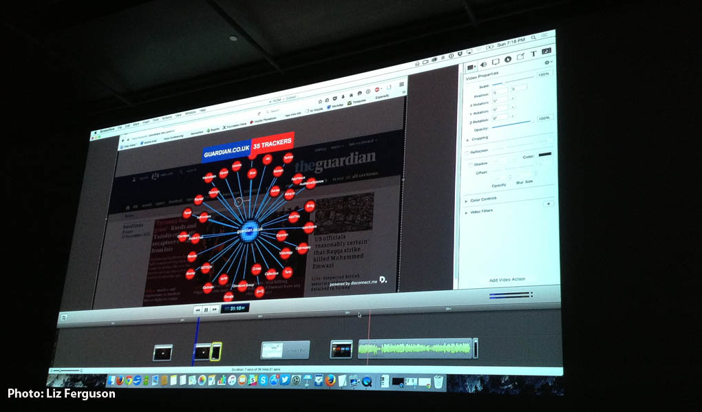 At an assisted navigation of the documentary web series, Do Not Track, director Brett Gaylor showed particpants that the the web site of The Guardian has 35 trackers.