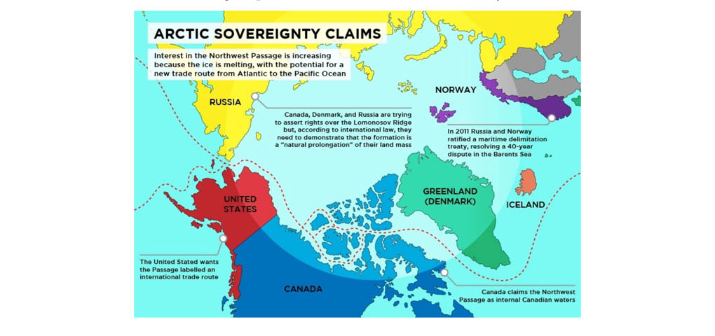 A graphic about Arctic sovereignty from Polar Sea 360. The international, interactive project combines information about ecology, geology, history, politics and more.