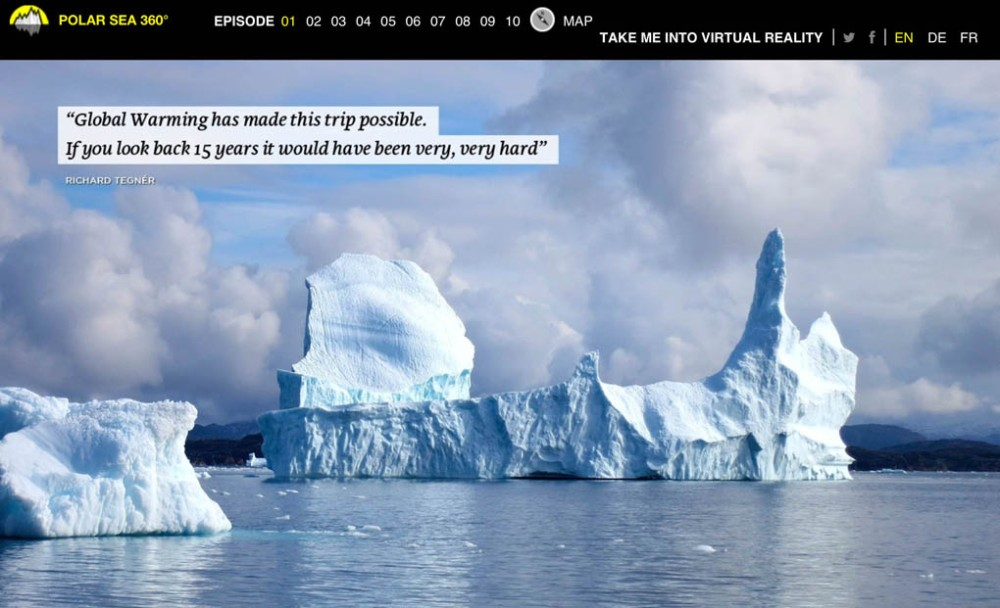 Screen grab for the Polar Sea 360¡ web site shows Arctic ice bergs.