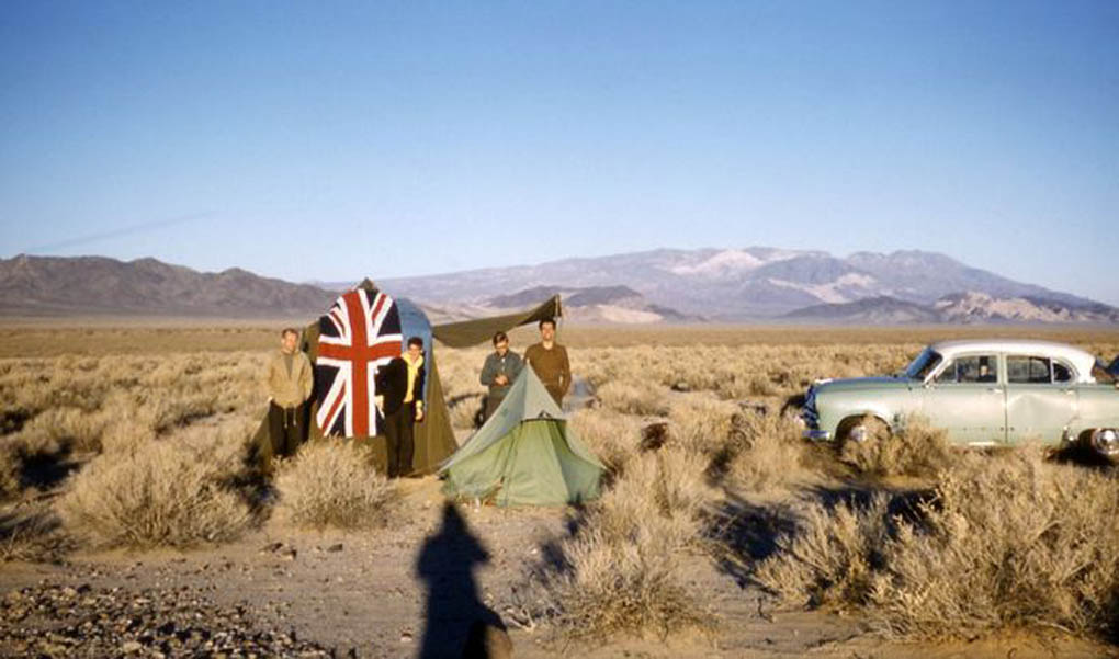 Photo taken by Roger Griffin in 1960 show his fellow astronomers at a their U.S. campsite with a large English flag. After they noticed the American fondness for their flag, they decided to take lots of photos with their own.