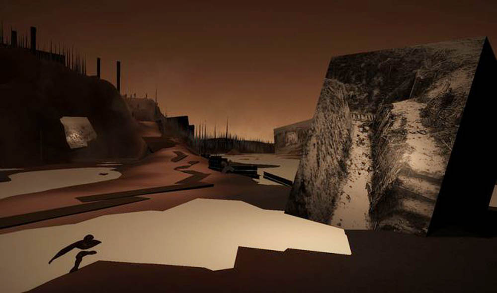 This barren battlefield is seen in the virtual-reality component of The Unknown Photographer.