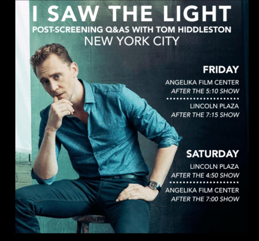 British actor Tom Hiddleston will meet with his fans on Friday and Saturday, March 25 and 26, after New York screenings of his new film I Saw the Light.