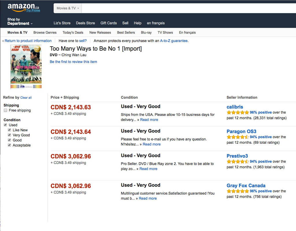 A person would have to be a VERY big fan to pay more than $2,000 for a DVD.