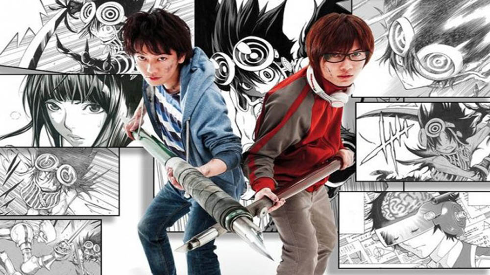 Moritaka (Takeru Satoh) and Akito (Ryunosuke Kamiki) wield their drawing instruments like weapons in Bakuman, a film about the world of manga.