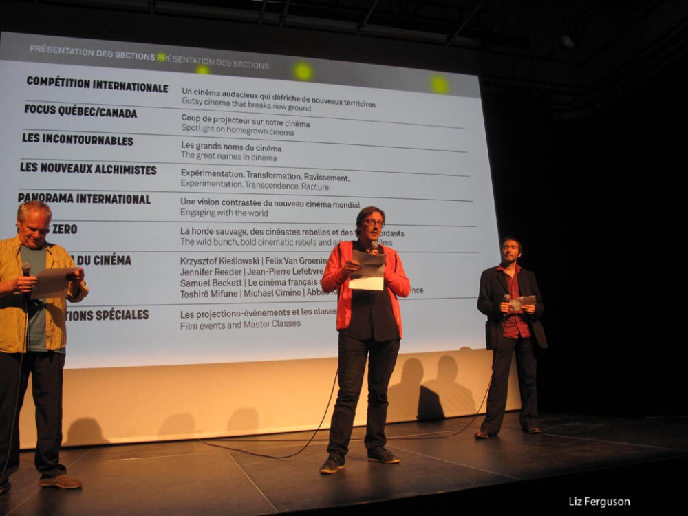 Claude Chamberlan, left, co-founder of the Festival du nouveau cinŽma, and programmers Philippe Gajan and Julien Fonfrde introduce the festival's 45th edition at a press conference. (Liz Ferguson photo)