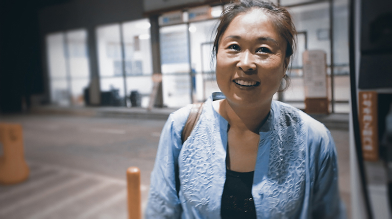 The woman who is the subject of Jero Yun's documentary film Mrs. B. A North-Korean Woman (Madame B. histoire d'une Nord-Coréenne), in one of her happier moments.