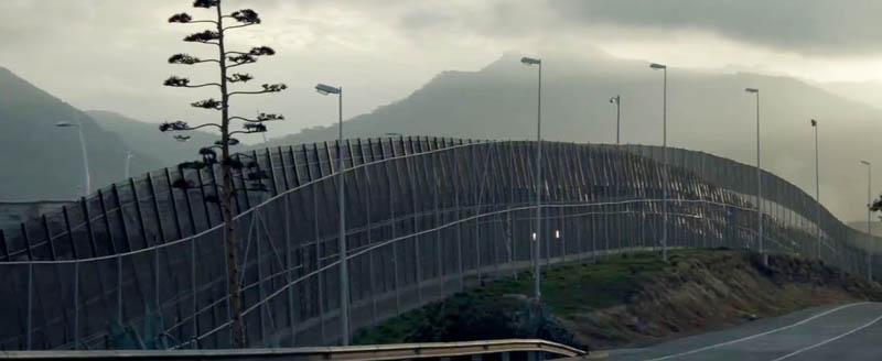 An image from the documentary The Great Wall, whch is being shown at the 2016 RIDM documentary film festival in Montreal. For me, the curves of this fence suggest the dragon-like undulations of The Great Wall of China.