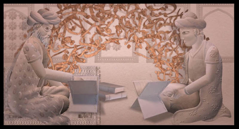 The Iranian poet Hafiz, right, listens to his father recite poetry in a scene from Ann Marie Fleming's animated film Window Horses: The Poetic Persian Epiphany of Rosie Ming. Bahram Javaheri, a Vancouver-based Iranian filmmaker, made the paper cutouts and Michael Mann assembled and animated them using After Effects software.