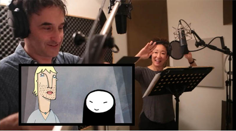 Don McKellar and Sandra Oh enjoy themselves recording the voices of Dietmar and Rosie, for the film Window Horses: The Poetic Persian Epiphany of Rosie Ming.