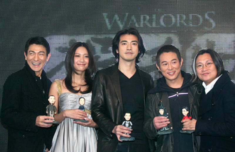 Actors Andy Lau, left, Xu Jinglei, Takeshi Kaneshiro, Jet Li and director Peter Chan at a press conference for the movie The Warlords, in Beijing, Dec. 6, 2007. (Xinhua/Lu Xin)